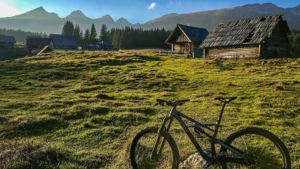 bike on an alpine meadow