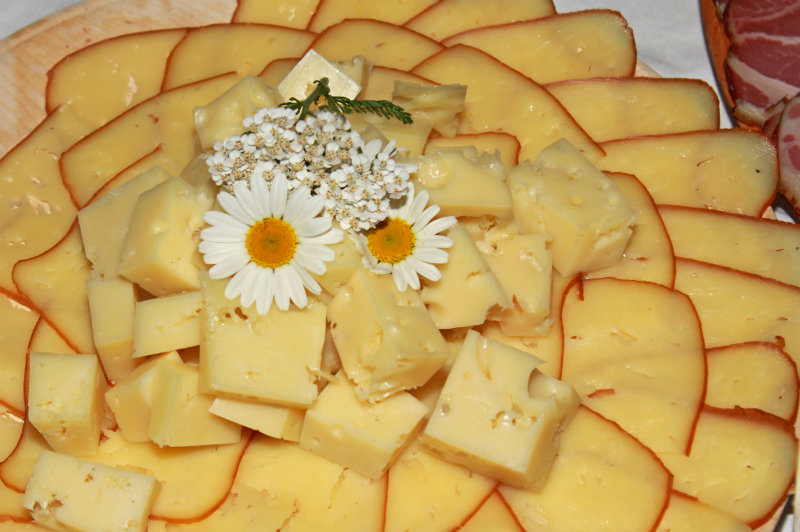 cheese plate with flowers