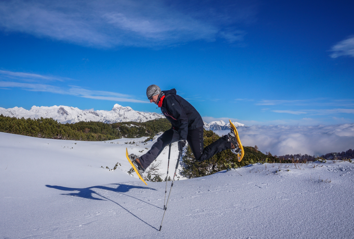 snowshoeing in slovenia on mt. vogel