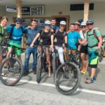 group of happy bikers on slovenia mtb week