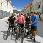 cyclists in Radovljica old town