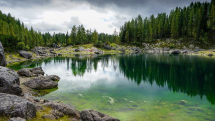 crystal clear alpine lake