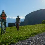 gravel cycling on alpine meadow