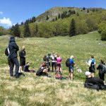 hikers relaxing on an alpine meadow