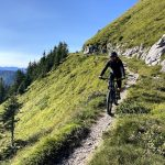 mountain biker descending on a trail in julian alps