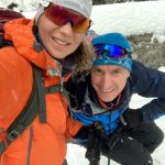 happy backcountry skiers